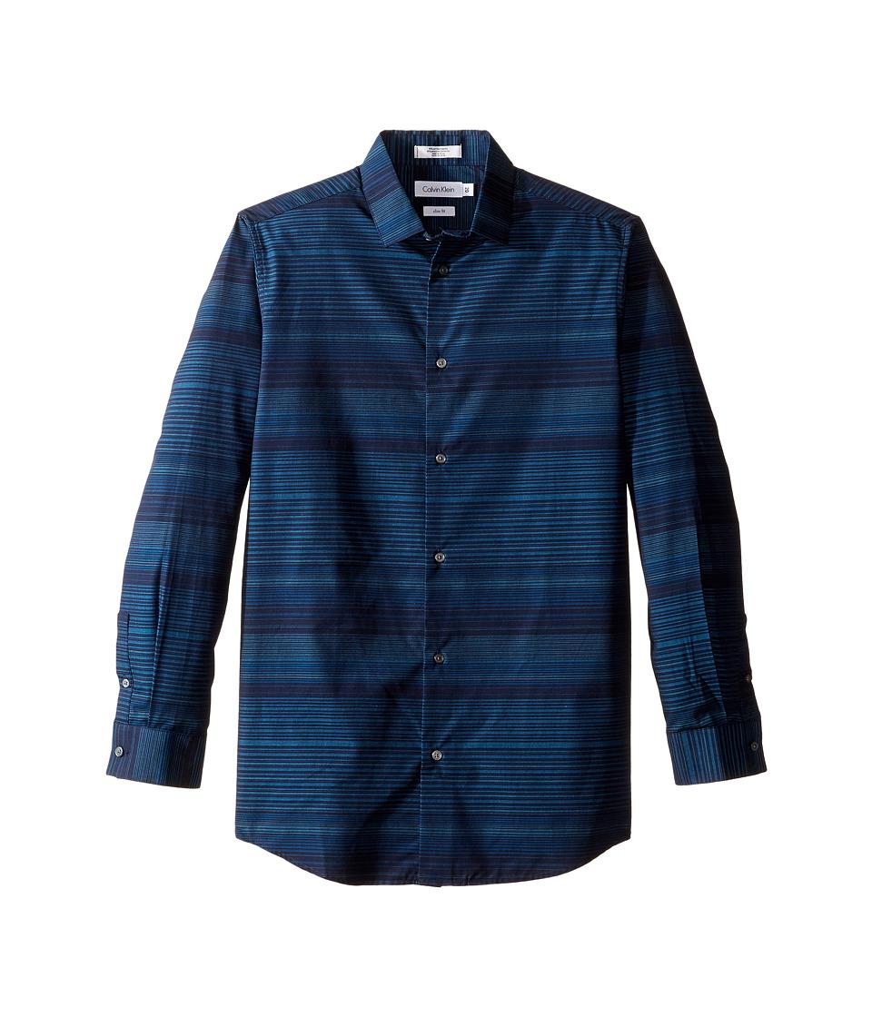 Calvin Klein Kids - Long Sleeve Infinity Horizontal Stripe Shirt (Big Kids) (Dark Blue) Boy's Long Sleeve Button Up