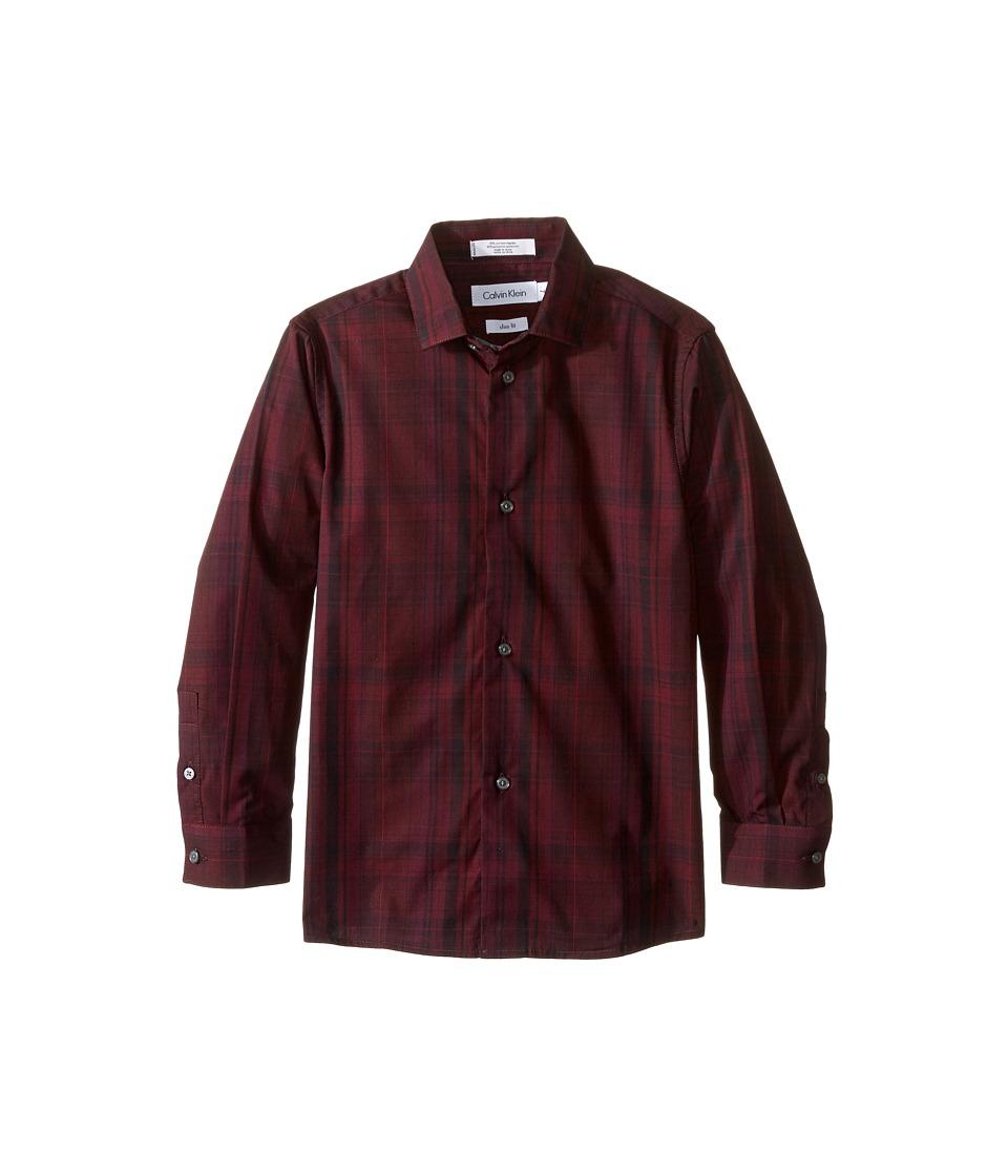Calvin Klein Kids - Long Sleeve Conversion Plaid Shirt (Little Kids) (Dark Purple) Boy's Long Sleeve Button Up