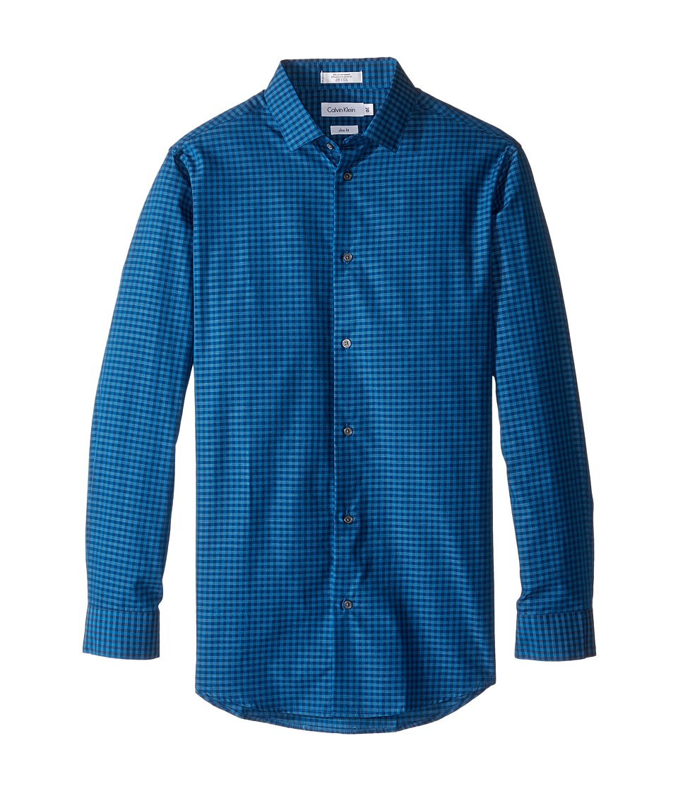 Calvin Klein Kids - Long Sleeve End on End Gingham Shirt (Big Kids) (Dark Blue) Boy's Long Sleeve Button Up