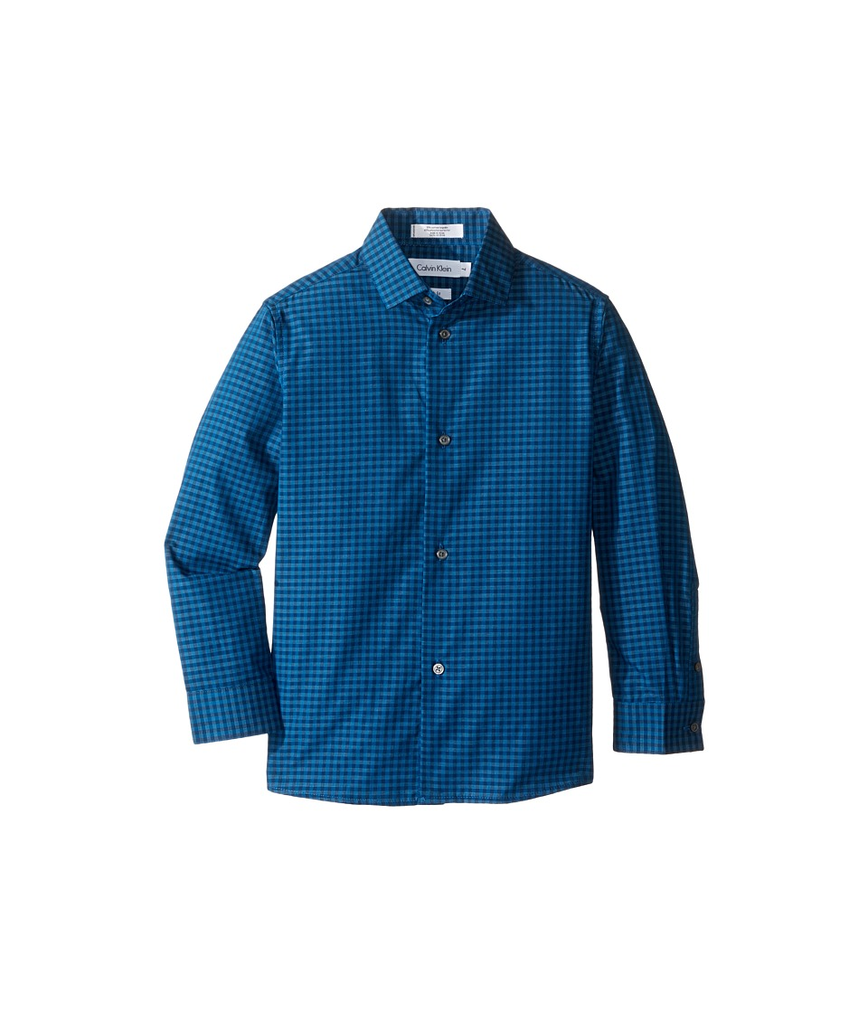 Calvin Klein Kids - Long Sleeve End on End Gingham Shirt (Little Kids) (Dark Blue) Boy's Long Sleeve Button Up