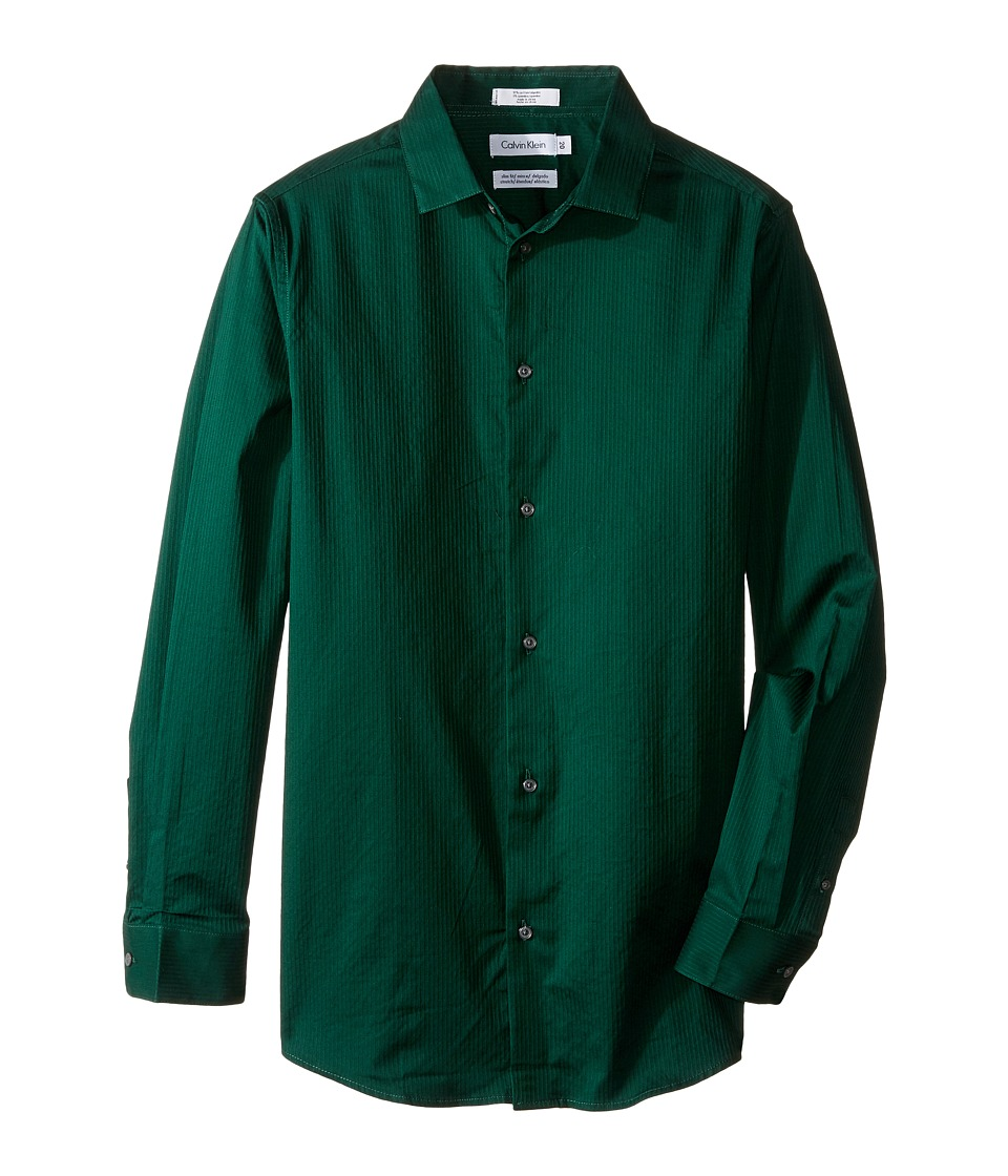 Calvin Klein Kids - Long Sleeve Luster Tonal Stripe Stretch Shirt (Big Kids) (Dark Green) Boy's Long Sleeve Button Up