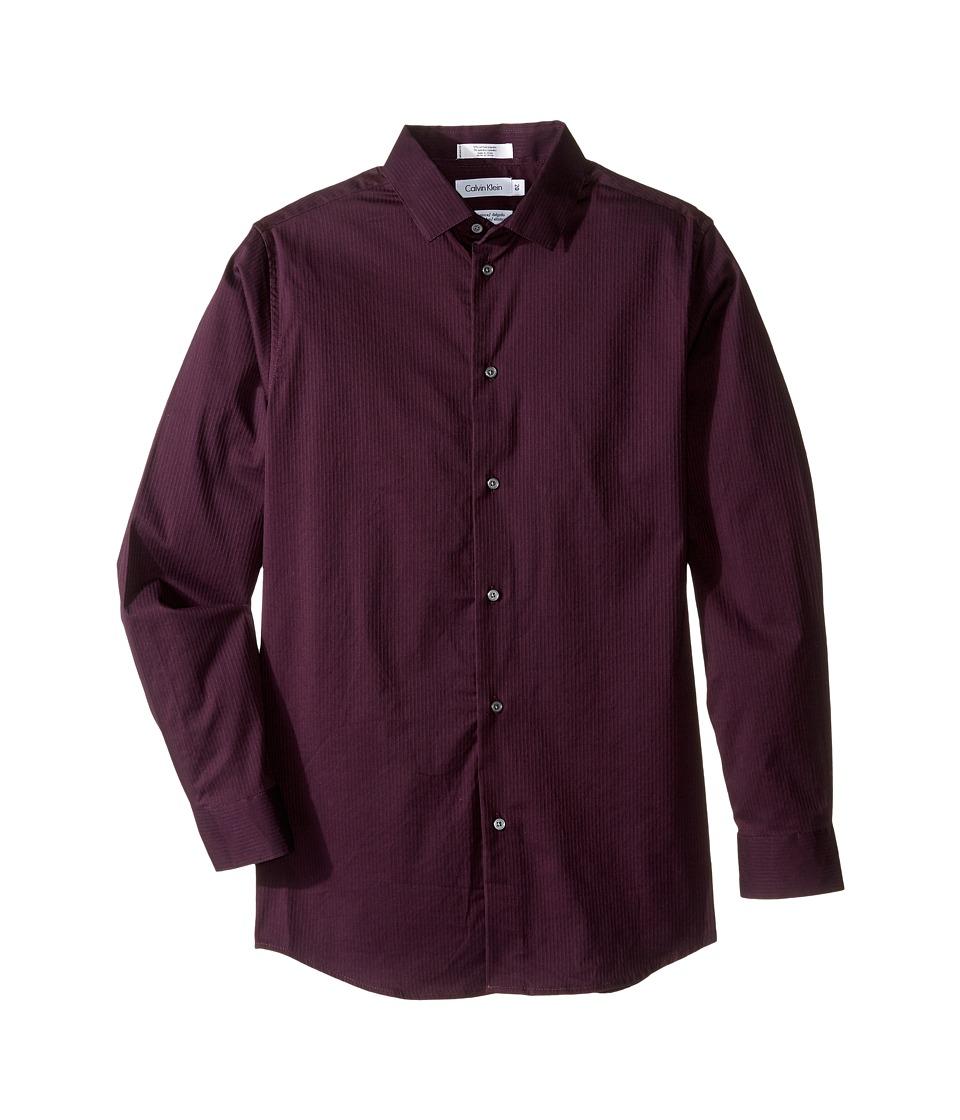 Calvin Klein Kids - Long Sleeve Luster Tonal Stripe Stretch Shirt (Big Kids) (Dark Purple) Boy's Long Sleeve Button Up