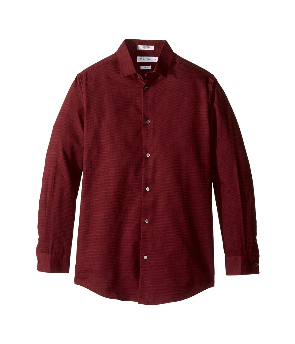 Calvin Klein Kids - Long Sleeve Scallop Shirt (Big Kids) (Dark Red) Boy's Long Sleeve Button Up