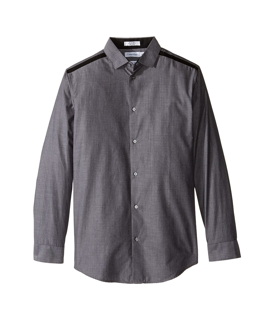 Calvin Klein Kids - Long Sleeve Crows Foot Pieced Shirt (Big Kids) (Dark Grey) Boy's Long Sleeve Button Up