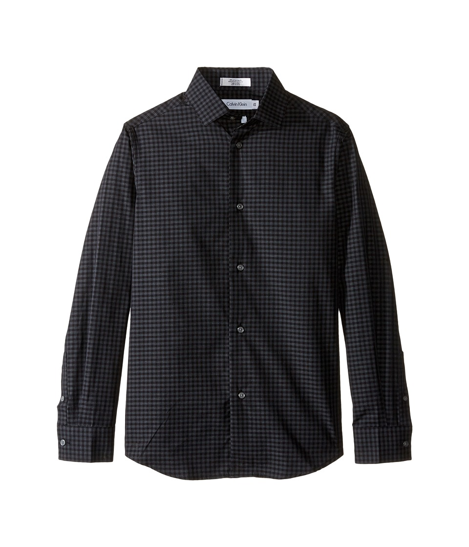 Calvin Klein Kids - Long Sleeve End on End Gingham Shirt (Big Kids) (Dark Grey) Boy's Long Sleeve Button Up