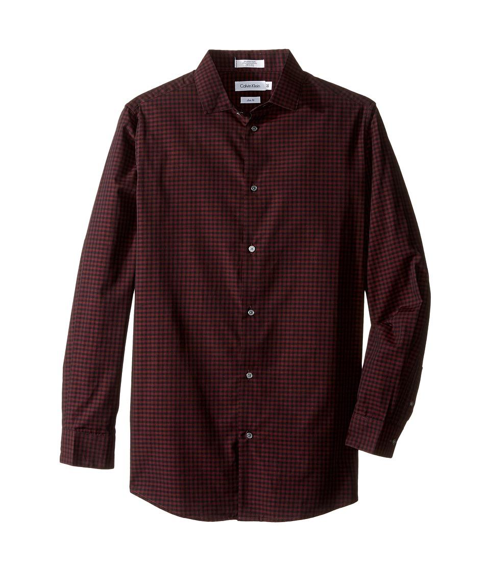 Calvin Klein Kids - Long Sleeve End on End Gingham Shirt (Big Kids) (Dark Red) Boy's Long Sleeve Button Up