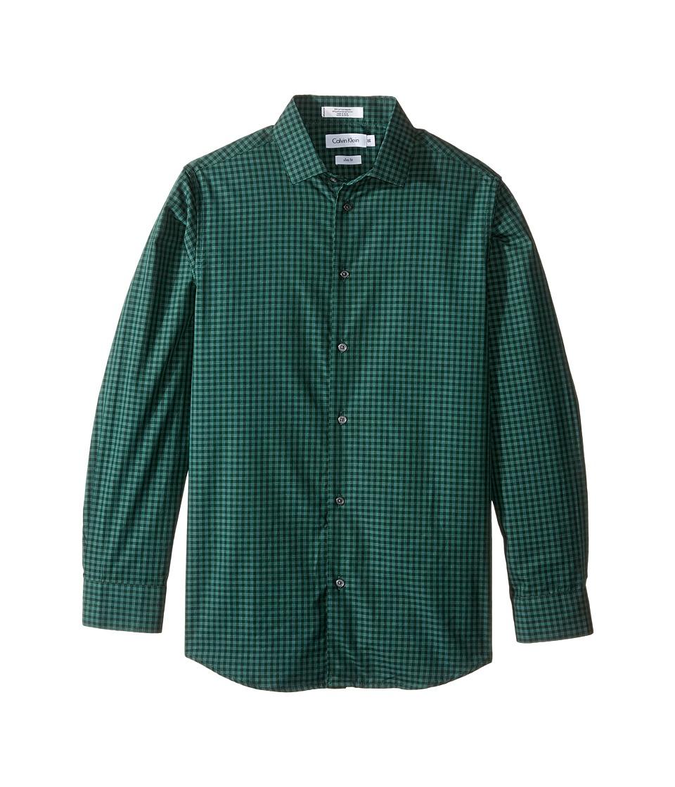 Calvin Klein Kids - Long Sleeve End on End Gingham Shirt (Big Kids) (Dark Green) Boy's Long Sleeve Button Up