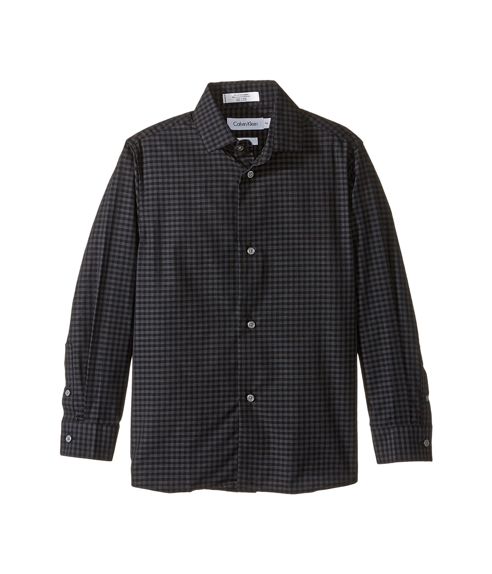 Calvin Klein Kids - Long Sleeve End on End Gingham Shirt (Little Kids) (Dark Grey) Boy's Long Sleeve Button Up