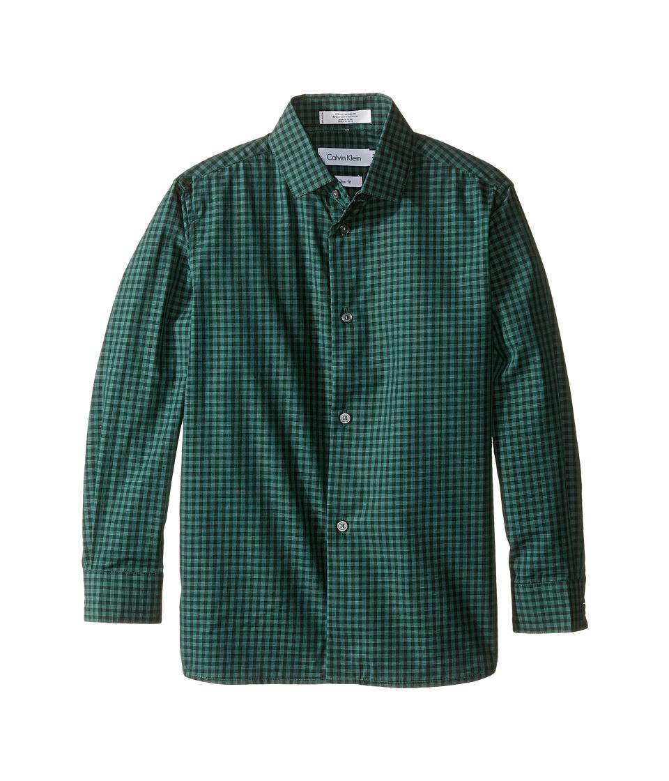 Calvin Klein Kids - Long Sleeve End on End Gingham Shirt (Little Kids) (Dark Green) Boy's Long Sleeve Button Up