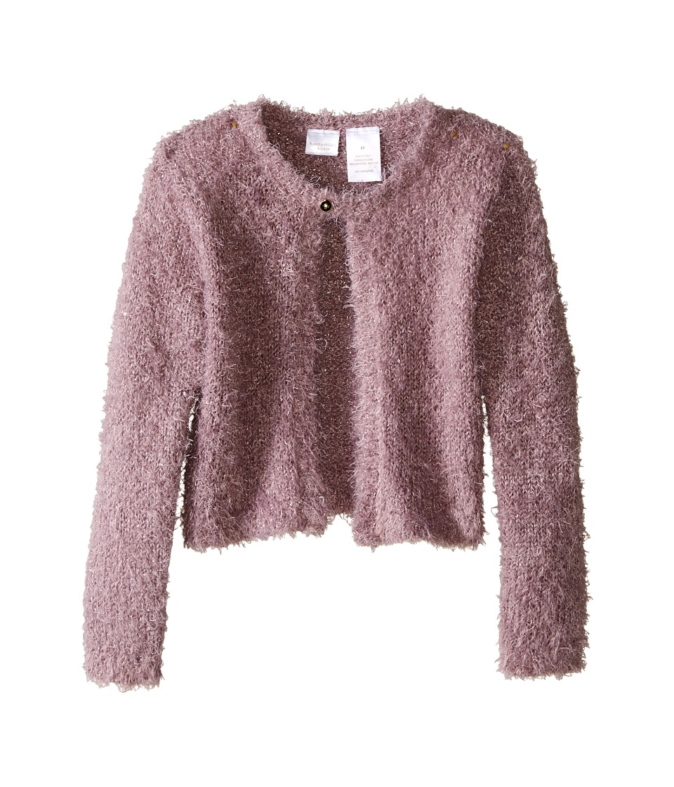 Kardashian Kids - Sequin Eyelash Cardigan with Sequin (Toddler/Little Kids) (Mauve) Girl's Sweater