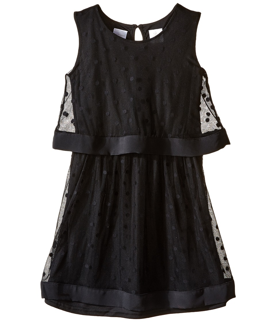 Kardashian Kids - Mesh Spot Dress with Hembands (Toddler/Little Kids) (Black) Girl's Dress