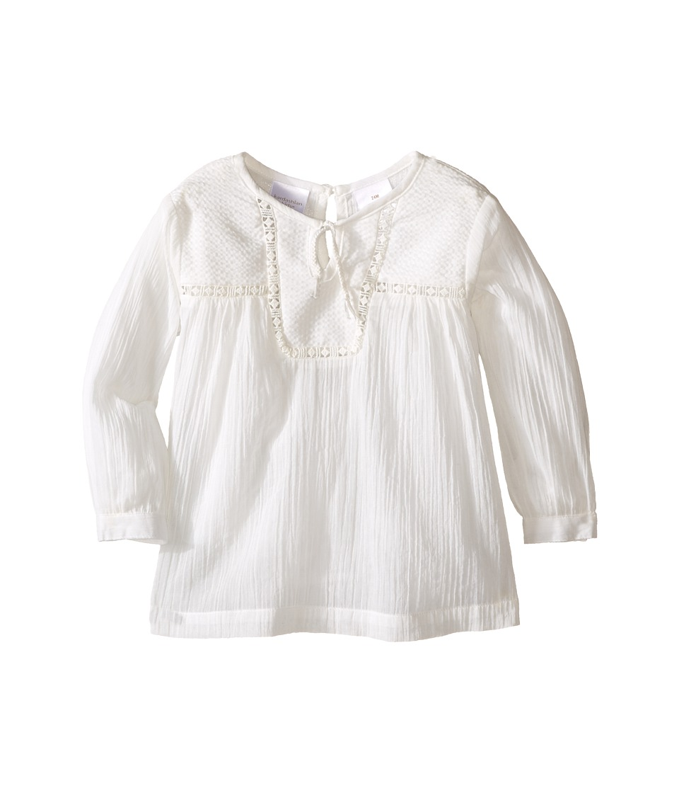 Kardashian Kids - Shirt with Front Split Tie and Seersucker Panel and Mesh Trim (Infant) (Ivory) Girl's Clothing
