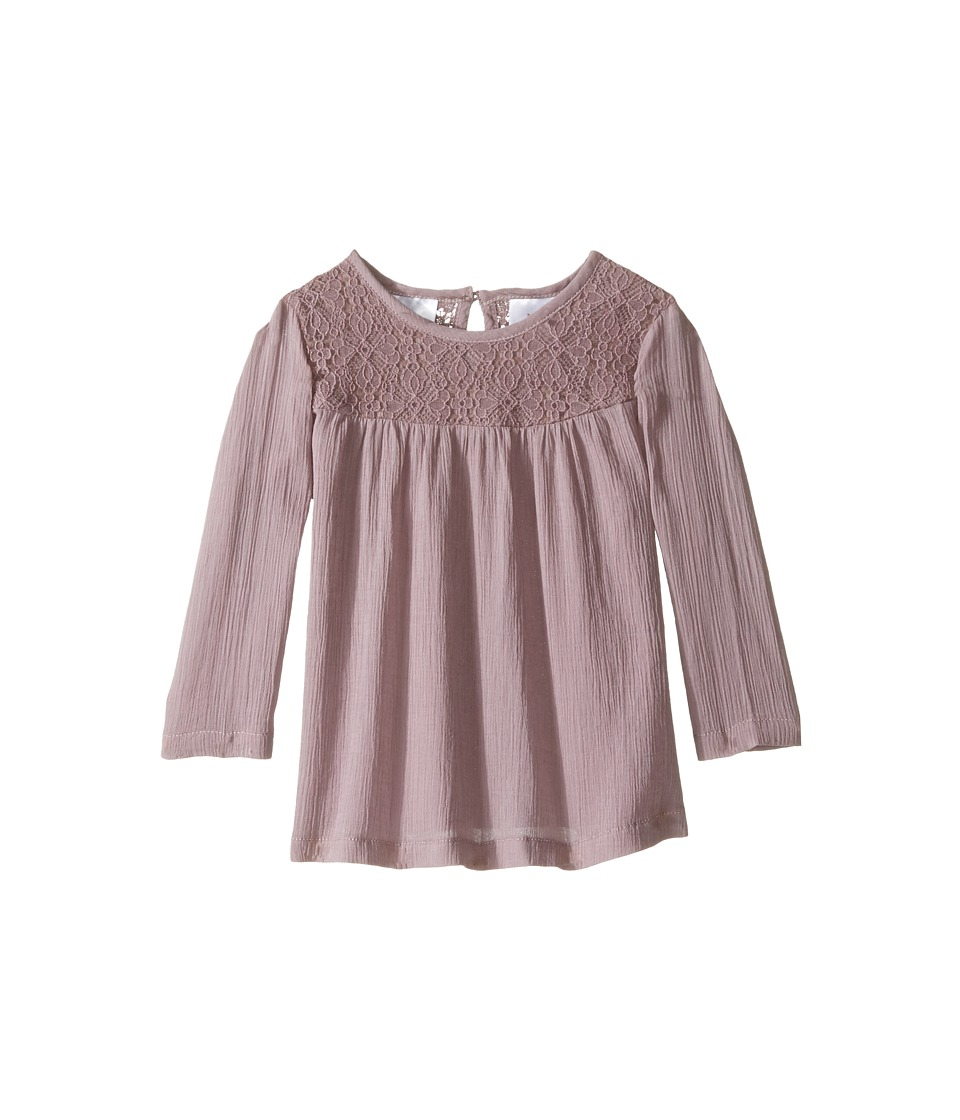 Kardashian Kids - Lace Bodice Blouse Gathering with Keyhole Opening (Infant) (Mauve) Girl's Blouse