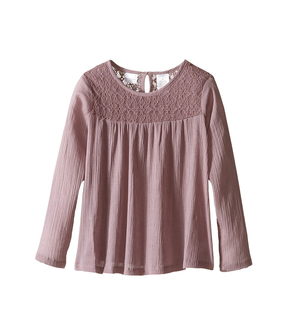 Kardashian Kids - Lace Bodice Blouse Gathering with Keyhole Opening (Toddler/Little Kids) (Mauve) Girl's Blouse