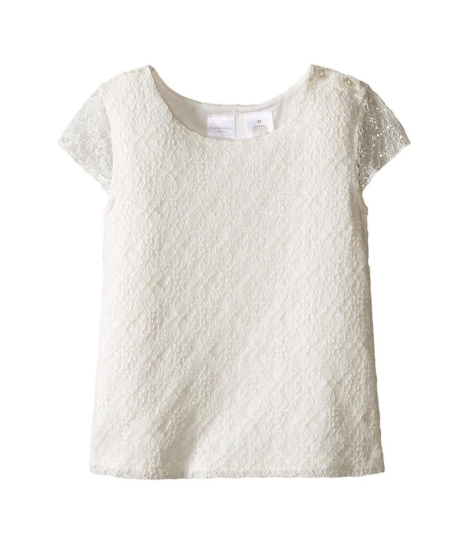 Kardashian Kids - Tulip Back Lace Top (Toddler/Little Kids) (Ivory) Girl's Clothing