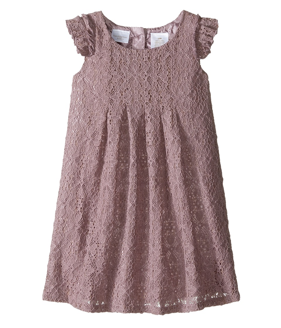 Kardashian Kids - Pleated Crochet Lace Dress (Infant) (Mauve) Girl's Dress
