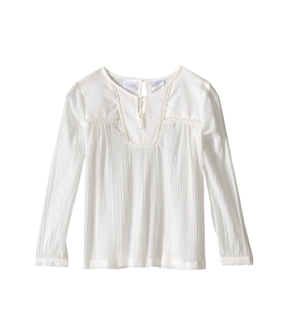Kardashian Kids - Shirt with Front Split Tie and Seersucker Panel and Mesh Trim (Toddler/Little Kids) (Ivory) Girl's Clothing