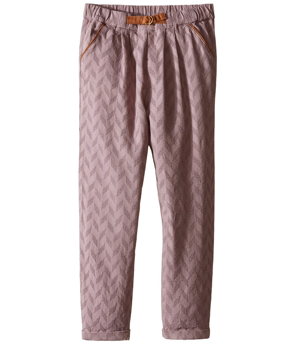 Kardashian Kids - Herringbone Pleated Pants with Faux Suede Belt (Toddler/Little Kids) (Mauve) Girl's Casual Pants