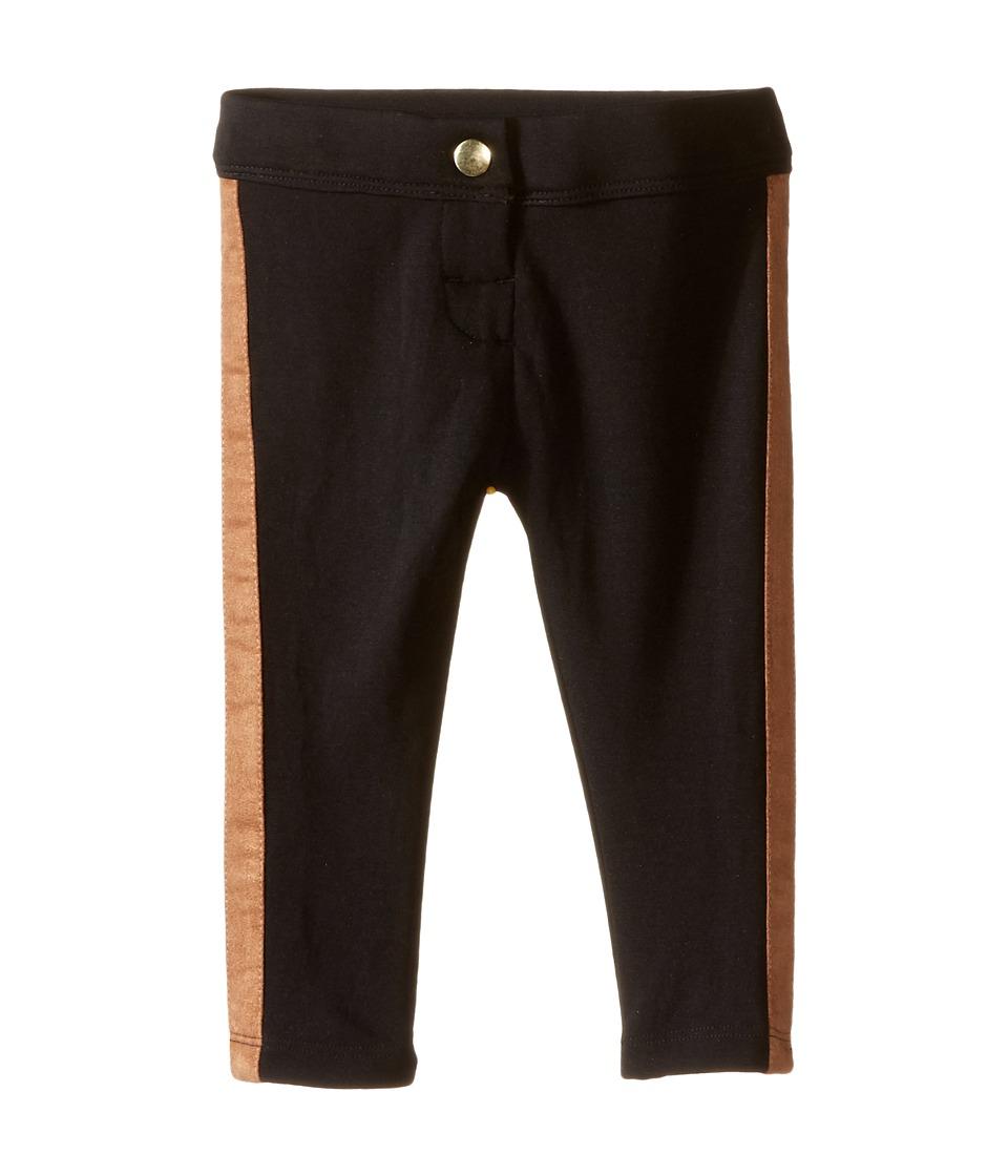 Kardashian Kids - Ponti Leggings with Faux Suede Side Panels (Infant) (Black) Girl's Casual Pants