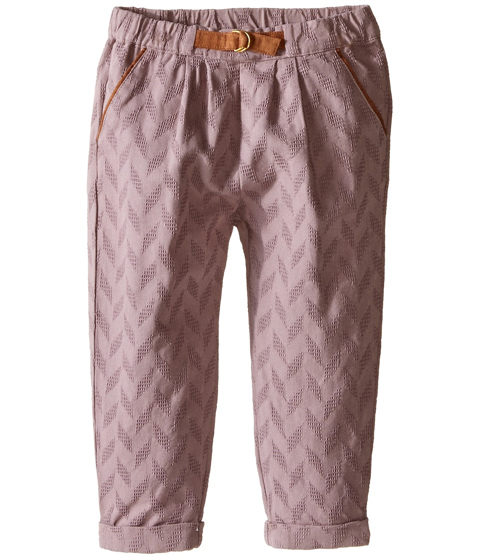 Kardashian Kids - Herringbone Fabric Pleated Pants with Faux Suede Ring Belt (Infant) (Mauve) Girl's Casual Pants