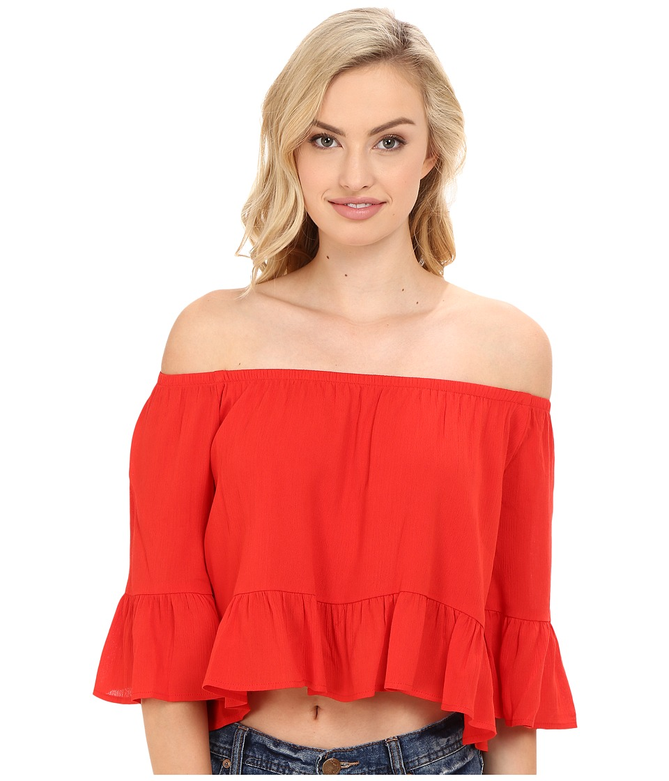 Show Me Your Mumu - Shirley Ruffle Top (Red Hot Chili Pepper Cloud) Women's Clothing