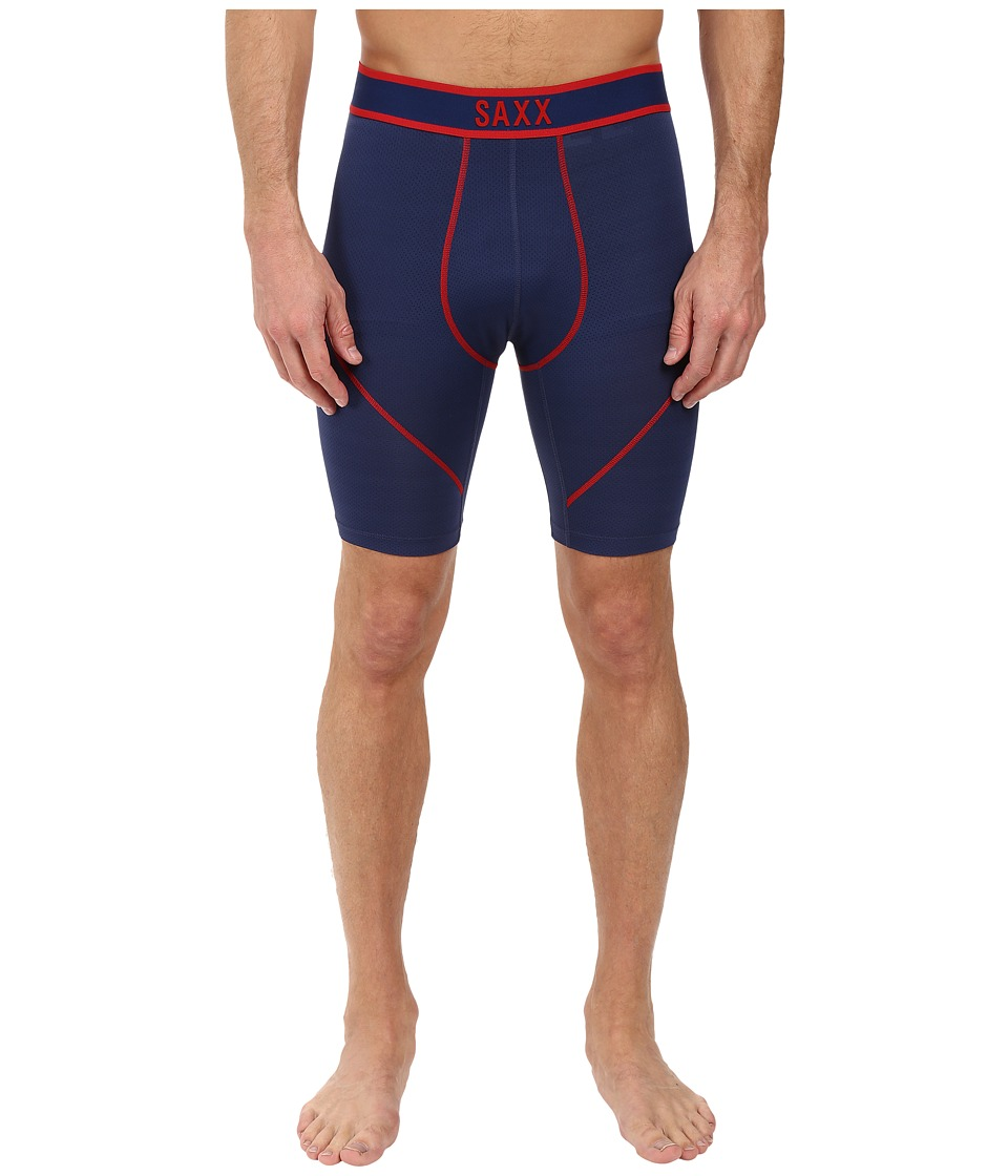 SAXX UNDERWEAR - Kinetic Long Leg (Bright Navy/Red) Men's Underwear
