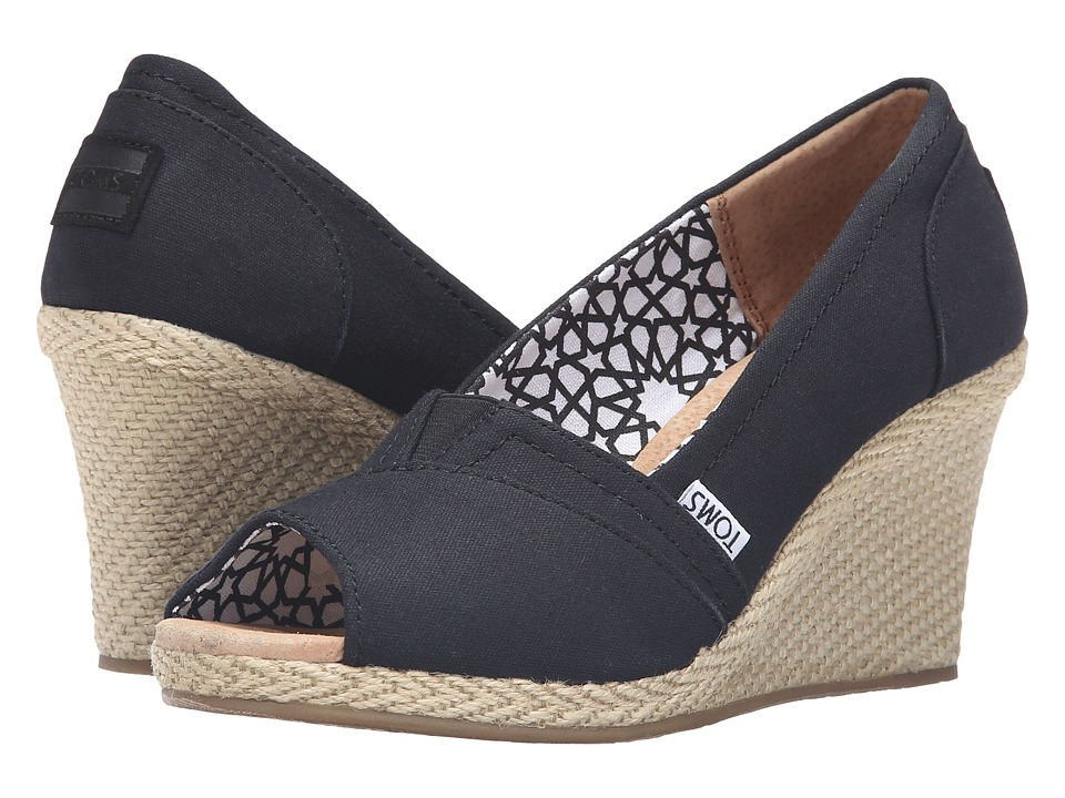TOMS - Canvas Wedge (Black) Women's Wedge Shoes