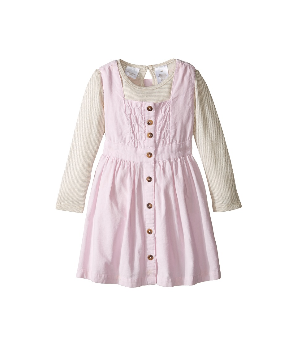 Kardashian Kids - Cord Printed Dress with Stripe Jersey Top Lace Trim (Infant) (Pink) Girl's Dress