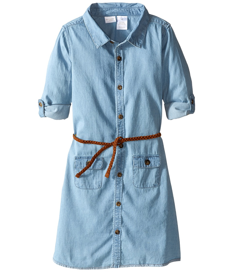 Kardashian Kids - Chambray Pocket Shirtdress (Toddler/Little Kids) (Light Blue) Girl's Dress