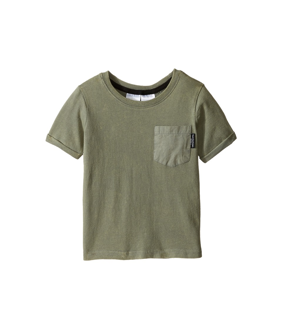 Kardashian Kids - Acid Washed Tee with Geo Print and Woven Pocket (Infant) (Olive) Boy's T Shirt