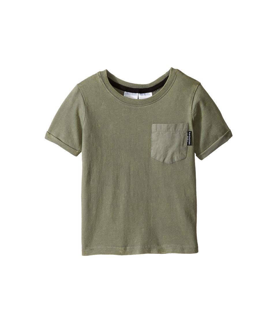 Kardashian Kids - Acid Washed Tee with Geo Print and Woven Pocket (Infant) (Olive) Boy's T Shirt