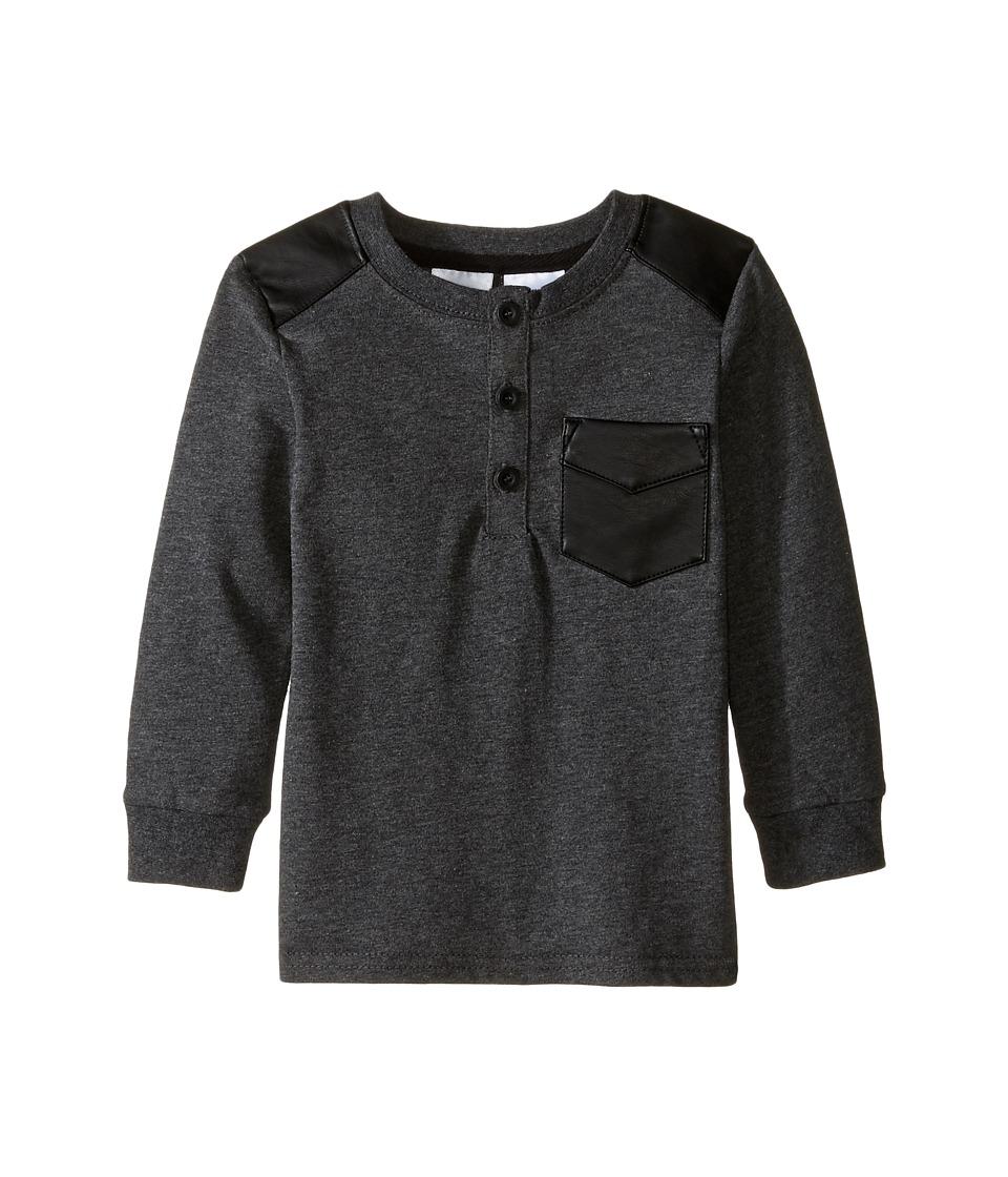 Kardashian Kids - Long Sleeve Tee Qulited Faux Leather Pocket (Infant) (Grey) Boy's T Shirt