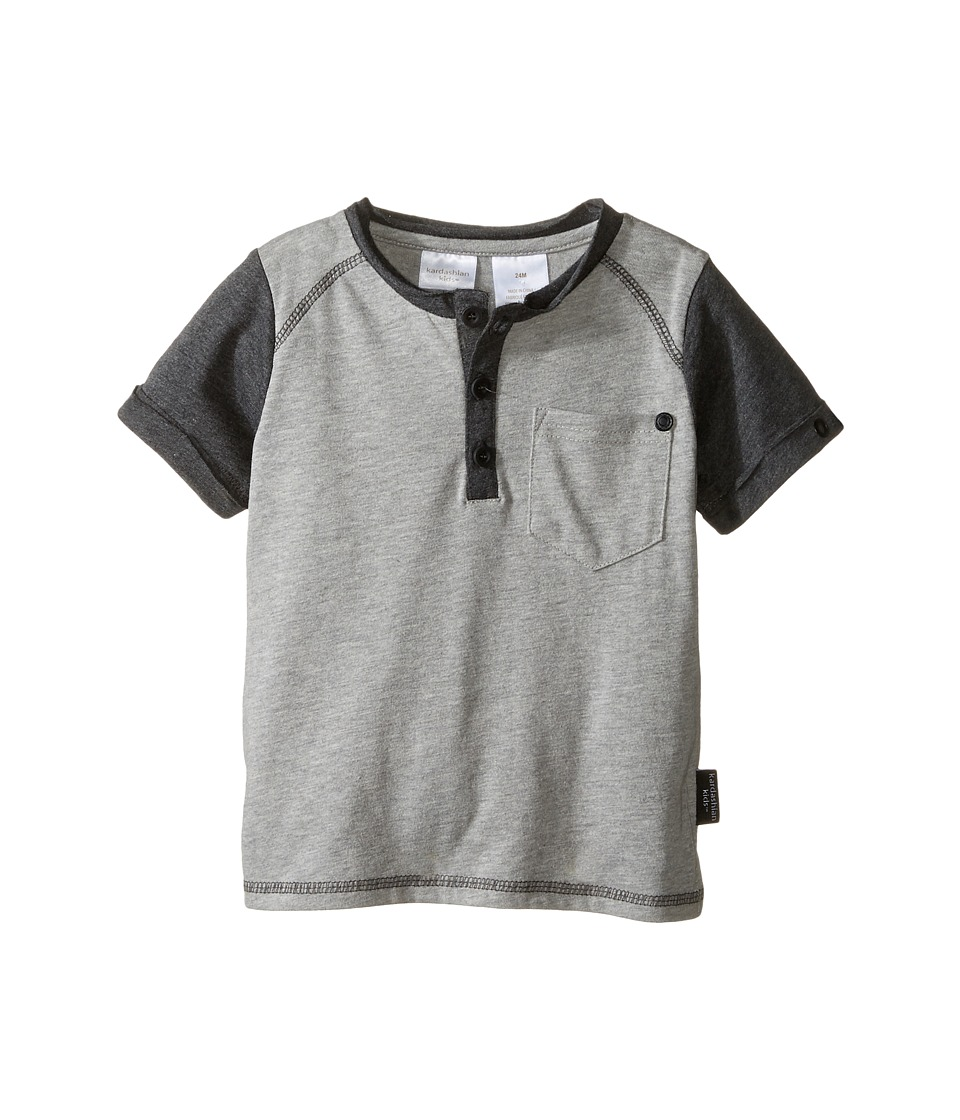 Kardashian Kids - Henley with Rolled Cuffs and Pocket Detail (Infant) (Grey) Boy's Clothing