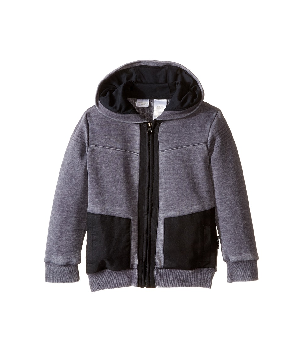 Kardashian Kids - Acid Washed Hoodie with Nylon Contrast Panels Yardage Hood Lining (Toddler/Little Kids) (Grey) Boy's Sweatshirt
