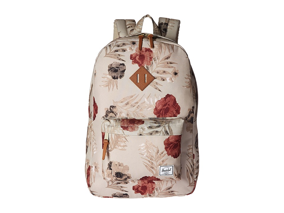 Herschel Supply Co. - Heritage (Pelican Floria/Tan Leather) Backpack Bags