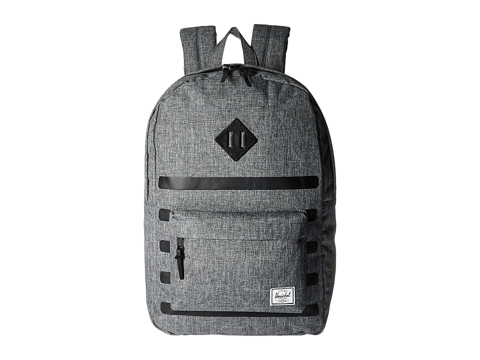 Herschel Supply Co. - Heritage (Raven Crosshatch Stripe/Black Veggie Tan Leather) Backpack Bags