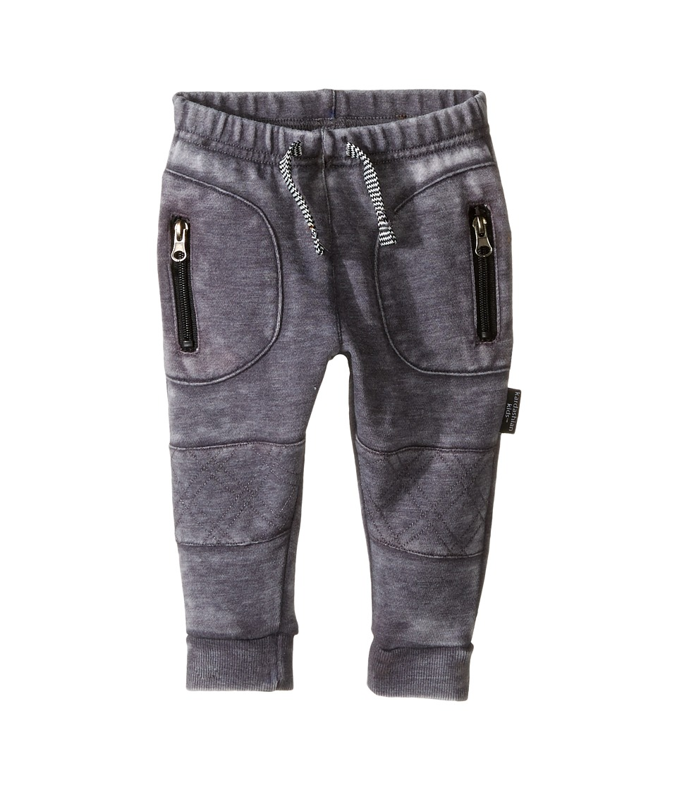 Kardashian Kids - Acid Washed Sweatpants with Quilted Knee Patches (Infant) (Grey) Boy's Casual Pants