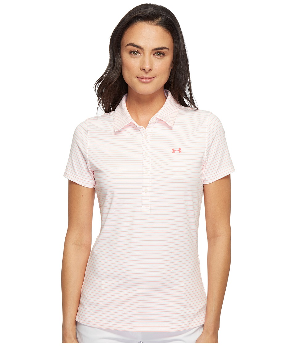 Under Armour Golf - Zinger Stripe Polo (White/White/Stealth Gray 1) Women's Short Sleeve Pullover
