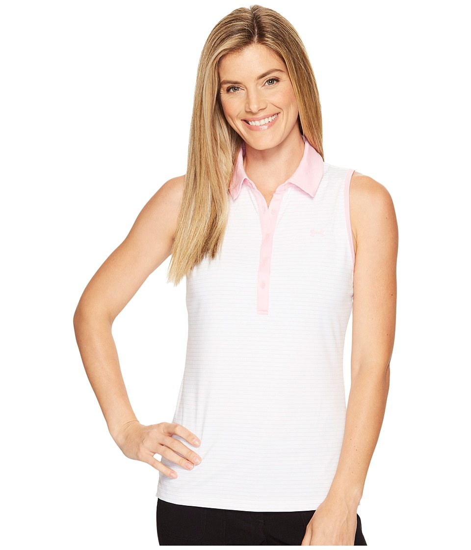 Under Armour Golf - Zinger Sleeveless Stripe Polo (White/Stealth Gray) Women's Sleeveless