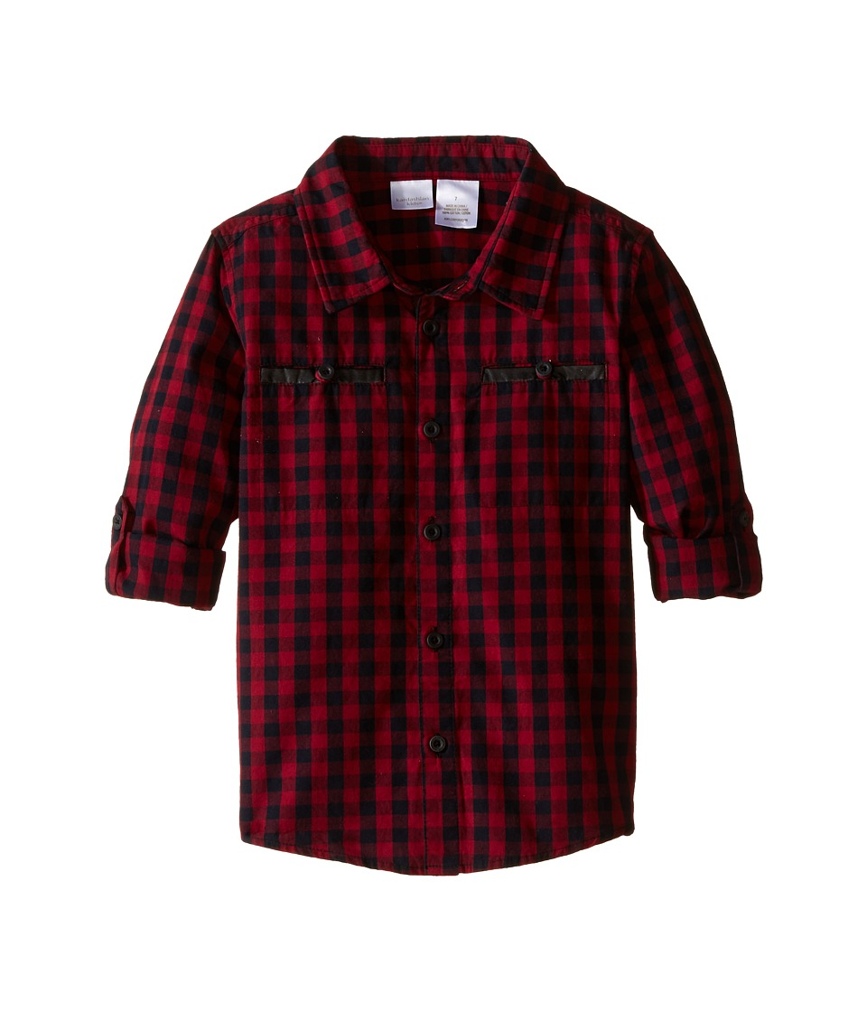 Kardashian Kids - Check Dip-Dye Shirt with Welt Pockets (Toddler/Little Kids) (Cabernet Multi) Boy's Clothing