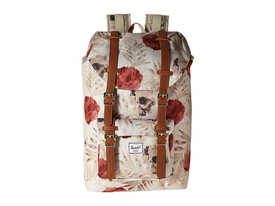 Herschel Supply Co. - Little America Mid-Volume (Pelican Floria/Tan Synthetic Leather) Backpack Bags