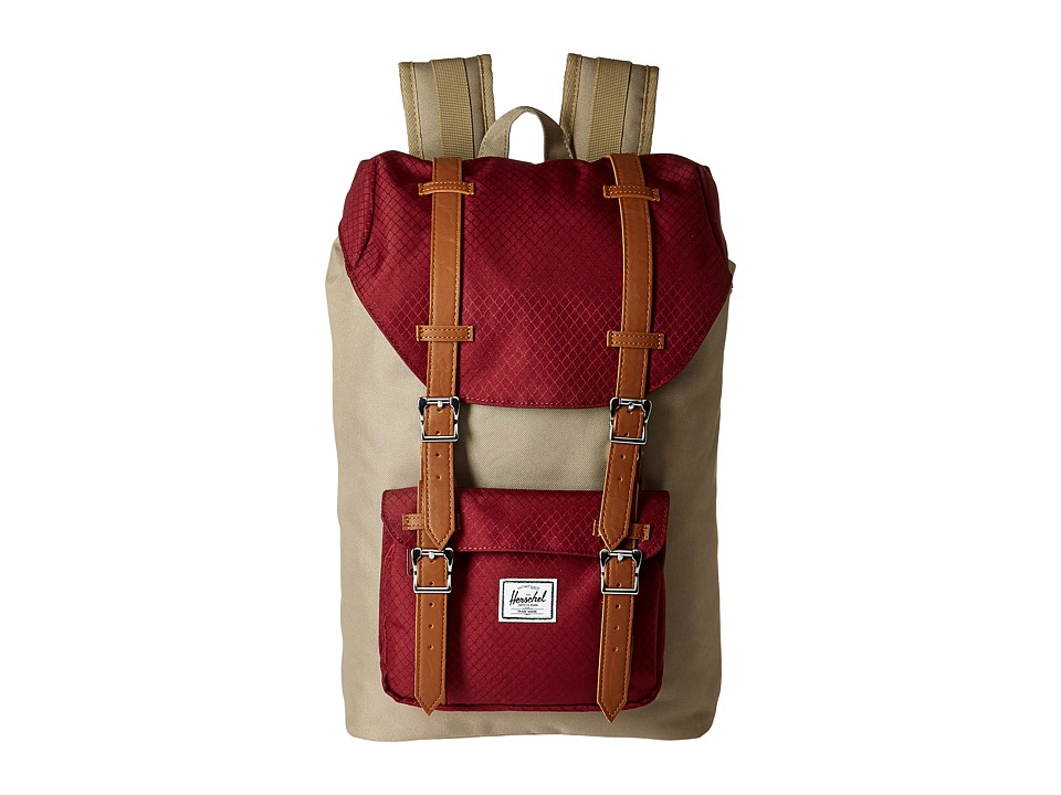 Herschel Supply Co. - Little America Mid-Volume (Brindle/Windsor Wine/Tan Synthetic Leather) Backpack Bags