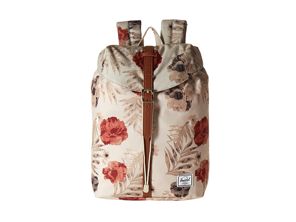 Herschel Supply Co. - Post Mid-Volume (Pelican Floria/Tan Synthetic Leather) Backpack Bags