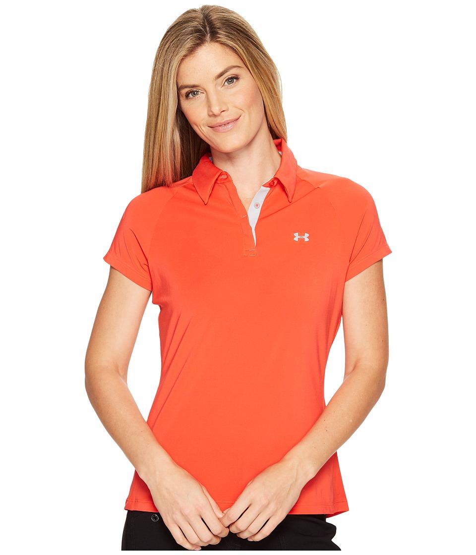 Under Armour Golf - Zinger UPF Short Sleeve Polo (Pomegranate/Overcast Gray/Overcast Gray) Women's Clothing