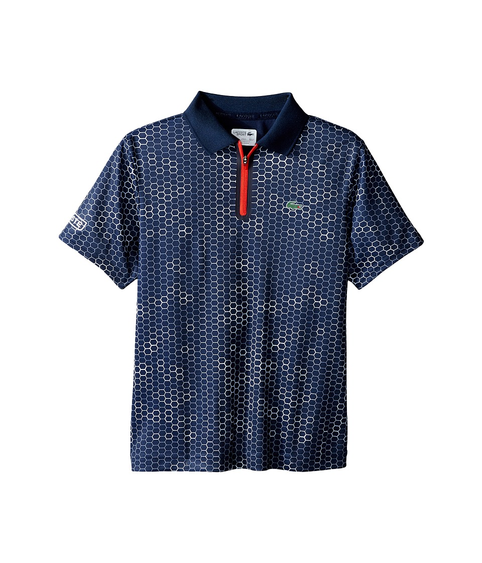 Lacoste Kids - Sport Short Sleeve Ultra Dry Polo with Zipper Placket (Toddler/Little Kids/Big Kids) (Navy Blue/White Corrida) Boy's Short Sleeve Pullover