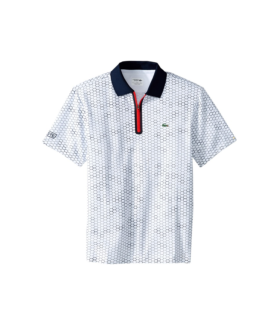 Lacoste Kids - Sport Short Sleeve Ultra Dry Polo with Zipper Placket (Toddler/Little Kids/Big Kids) (White/Navy Blue Corrida) Boy's Short Sleeve Pullover