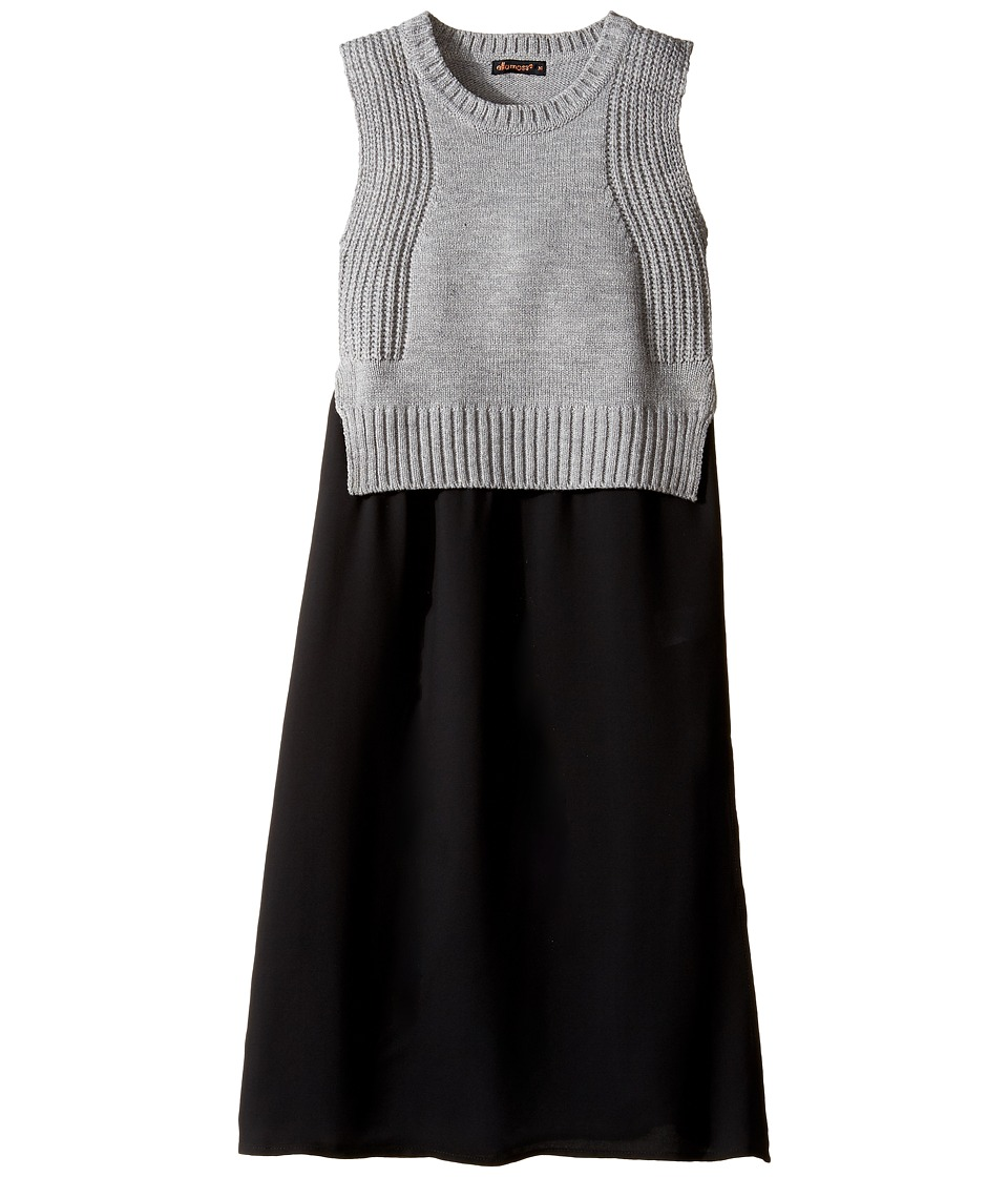 Ella Moss Girl - Lorri Sweater Top with Chiffon (Big Kids) (Charcoal Grey Heather) Girl's Sweater