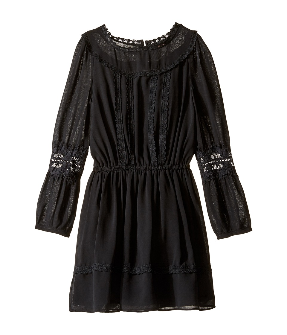 Ella Moss Girl - Clover Chiffon Dress with Lace Trim (Big Kids) (Black) Girl's Dress