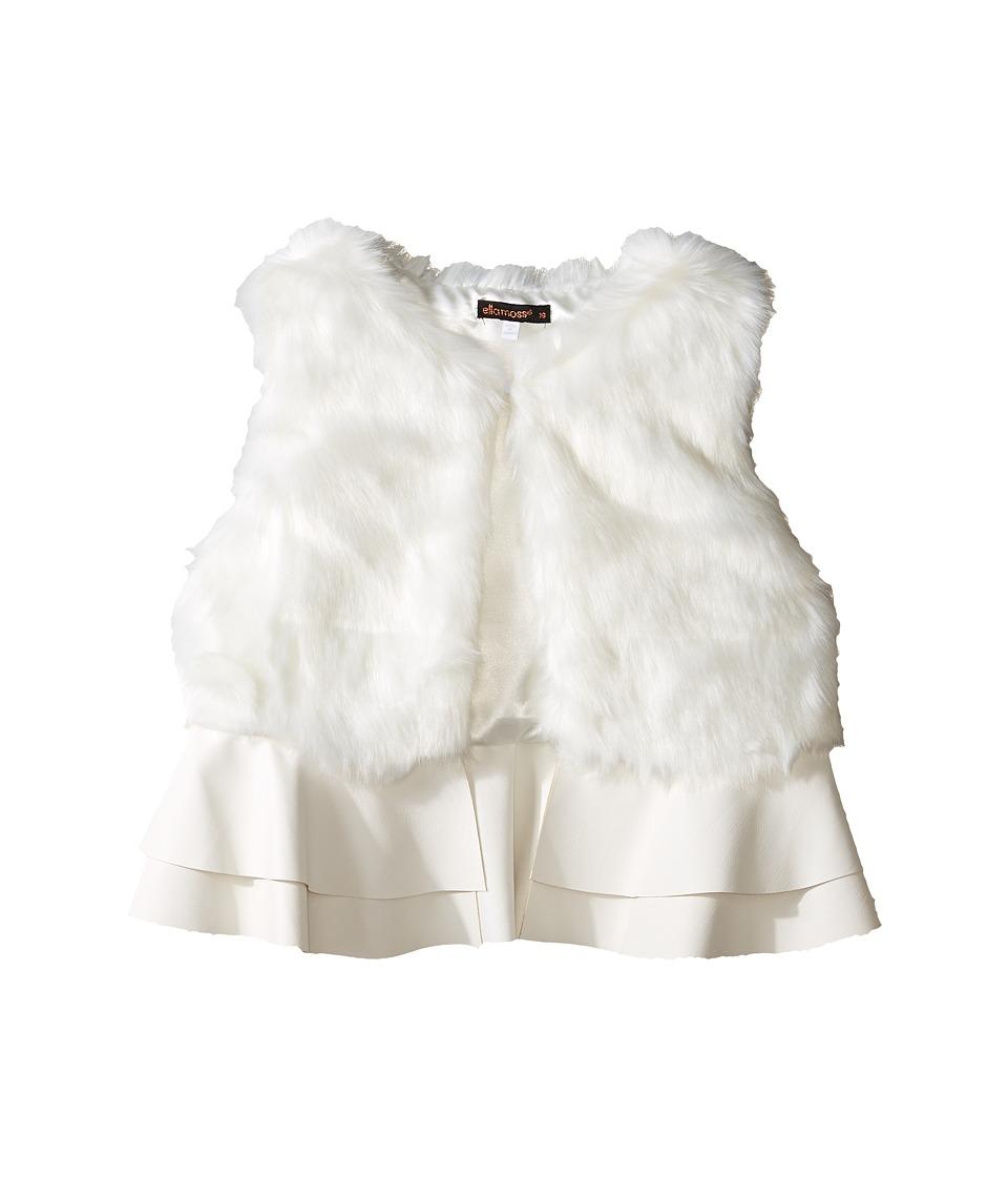 Ella Moss Girl - Loren Fur Ruffle Vest (Big Kids) (Off-White) Girl's Vest