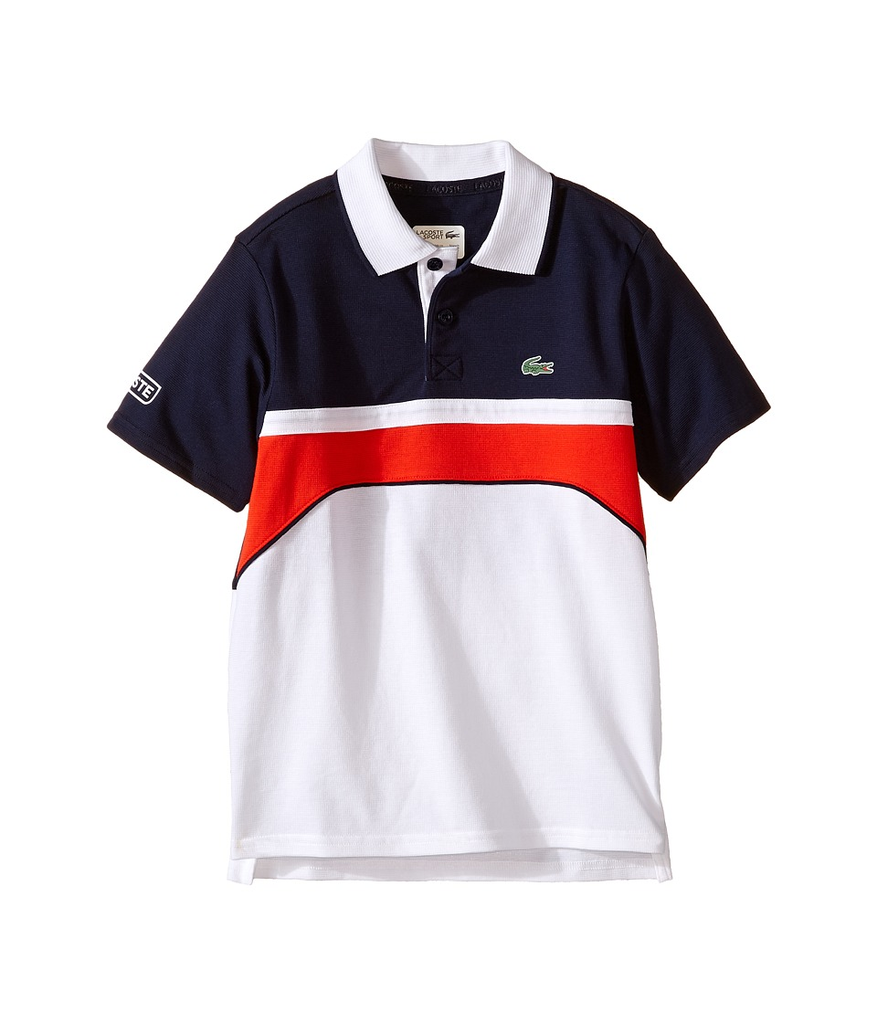 Lacoste Kids - Sport Short Sleeve Superlight Polo with Chest Stripe (Little Kids/Big Kids) (White/Navy Blue Corrida) Boy's Short Sleeve Pullover